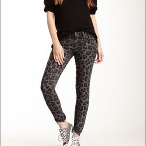 Mother The Leopard Print Looker Skinny Jeans